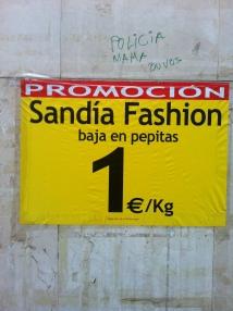 Cartel promocional de la Sandía Fashion, baja en pepitas
