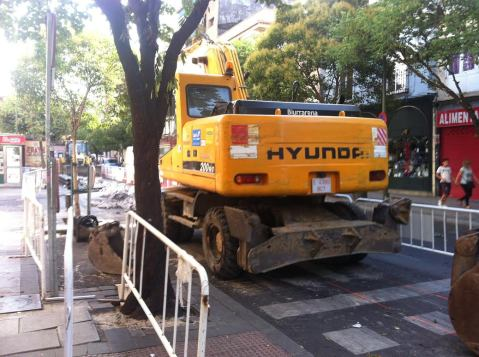 obra sin corte en la avenida de Monte Igueldo