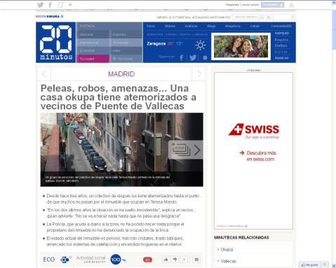el diario gratuito 20 Minutos se hace eco de la mala situación de la casa okupada de Teresa Maroto